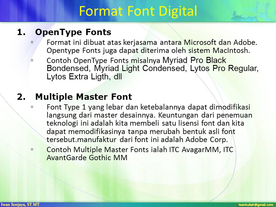 Format Font Digital OpenType Fonts