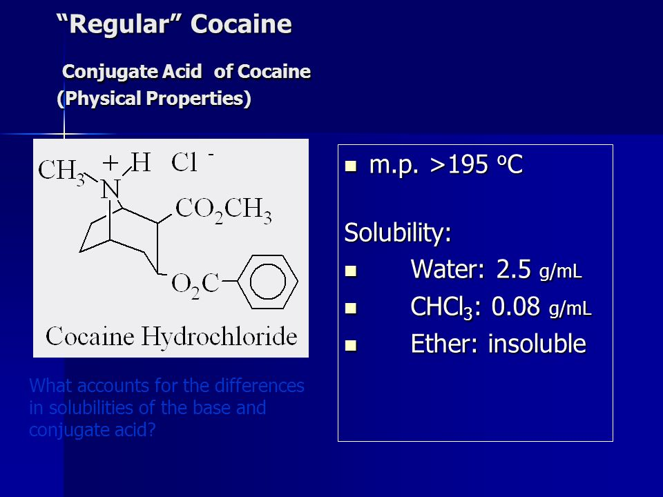 Regular Cocaine Conjugate Acid of Cocaine (Physical Properties)