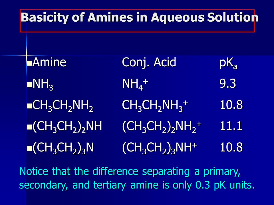 Basicity of Amines in Aqueous Solution