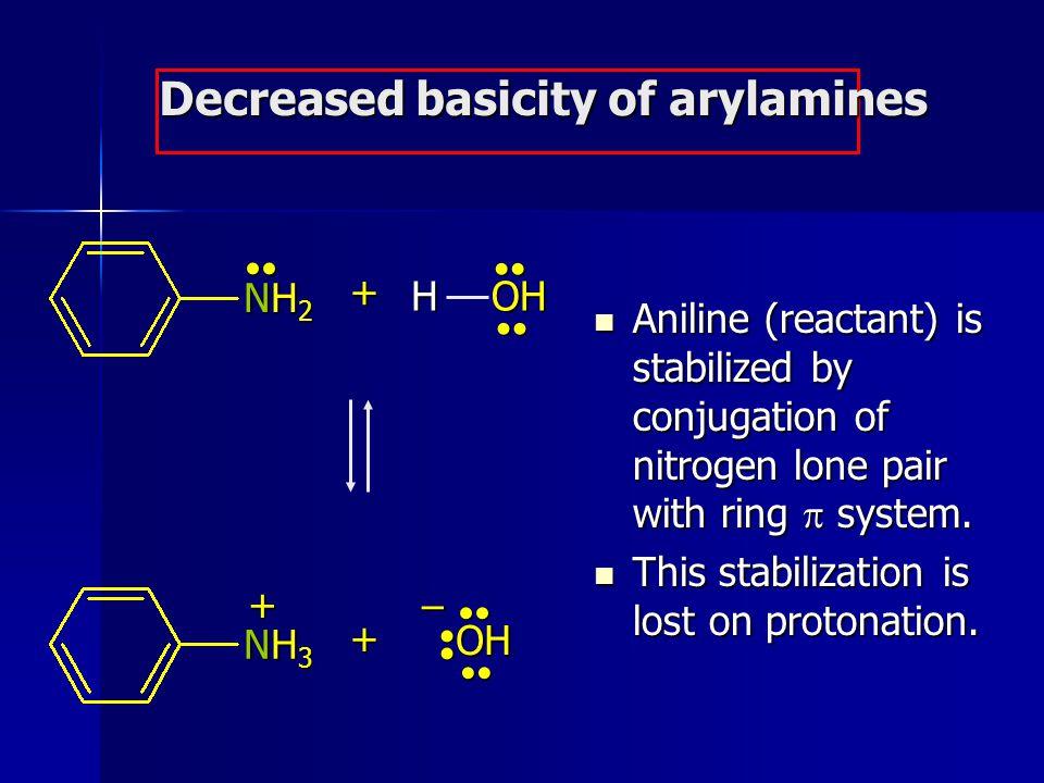 Decreased basicity of arylamines