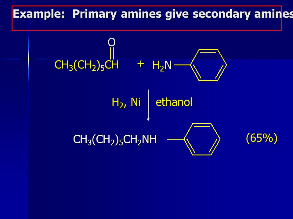 Example: Primary amines give secondary amines