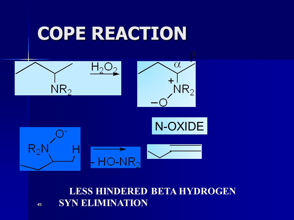 COPE REACTION N-OXIDE LESS HINDERED BETA HYDROGEN SYN ELIMINATION