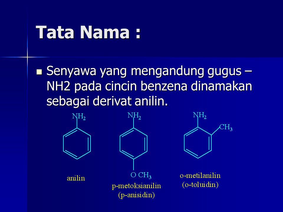 Tata Nama : Senyawa yang mengandung gugus –NH2 pada cincin benzena dinamakan sebagai derivat anilin.