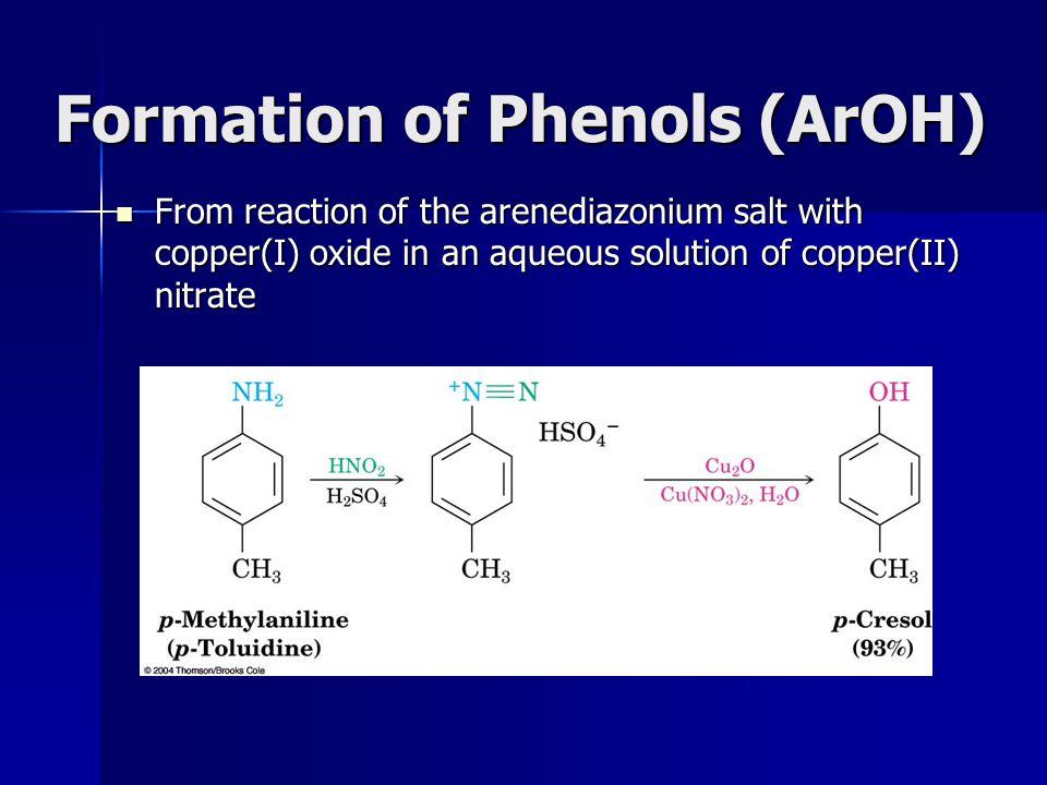 Formation of Phenols (ArOH)