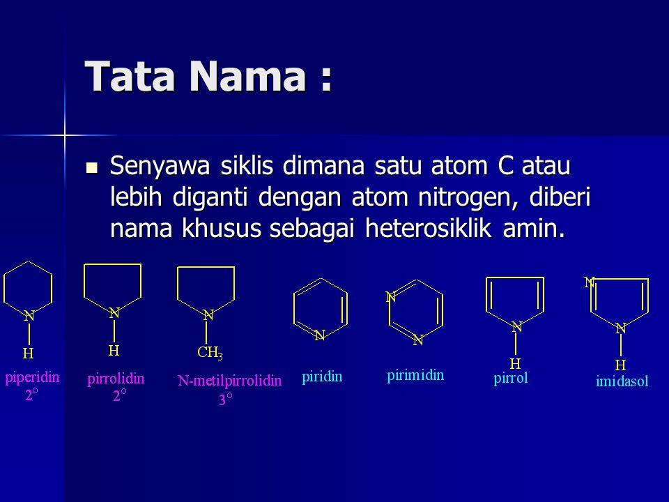 Tata Nama : Senyawa siklis dimana satu atom C atau lebih diganti dengan atom nitrogen, diberi nama khusus sebagai heterosiklik amin.