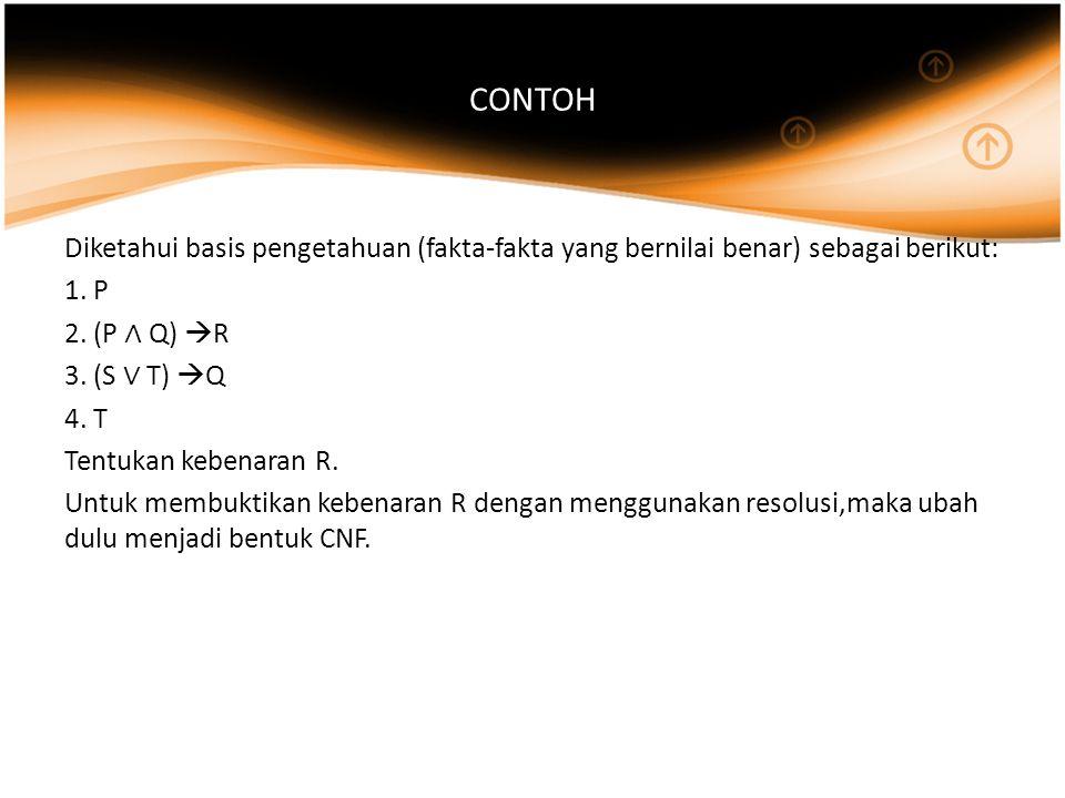 CONTOH Diketahui basis pengetahuan (fakta-fakta yang bernilai benar) sebagai berikut: 1. P. 2. (P ∧ Q) R.