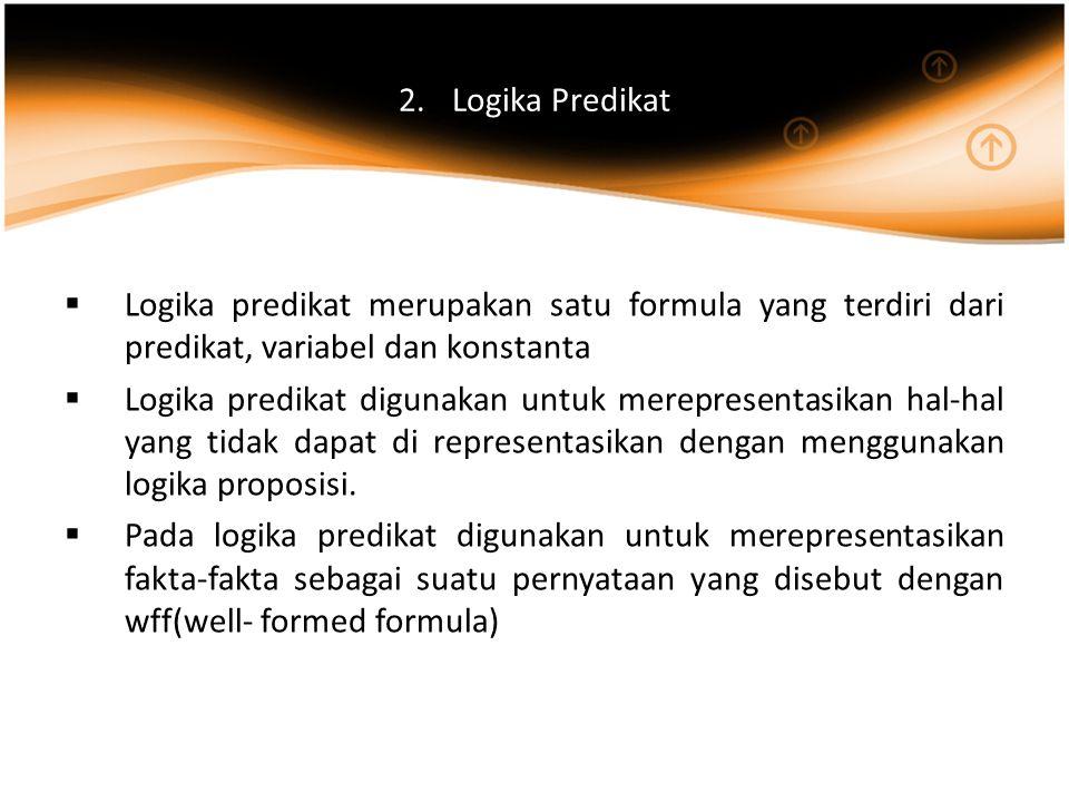 Logika Predikat Logika predikat merupakan satu formula yang terdiri dari predikat, variabel dan konstanta.