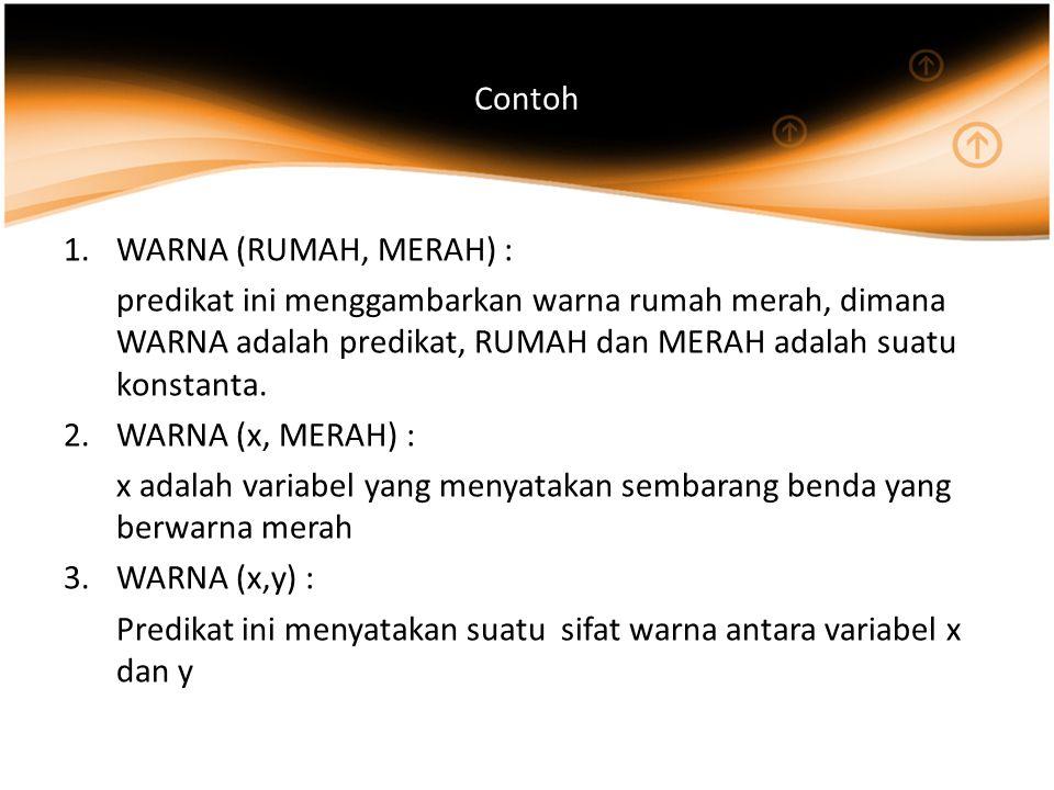 Contoh WARNA (RUMAH, MERAH) : predikat ini menggambarkan warna rumah merah, dimana WARNA adalah predikat, RUMAH dan MERAH adalah suatu konstanta.