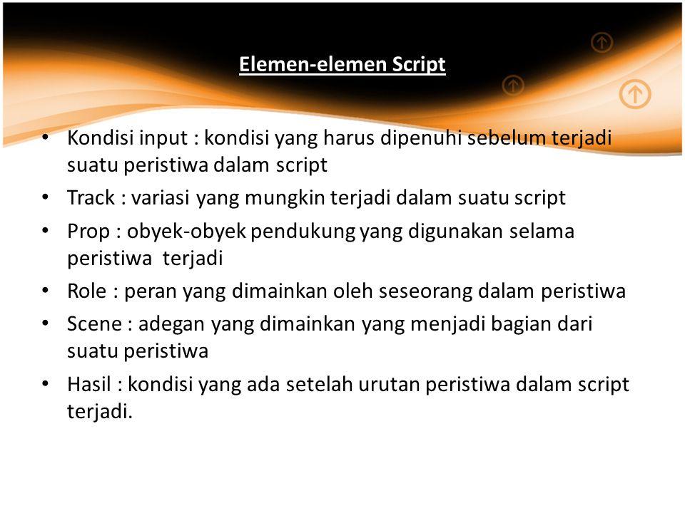 Elemen-elemen Script Kondisi input : kondisi yang harus dipenuhi sebelum terjadi suatu peristiwa dalam script.
