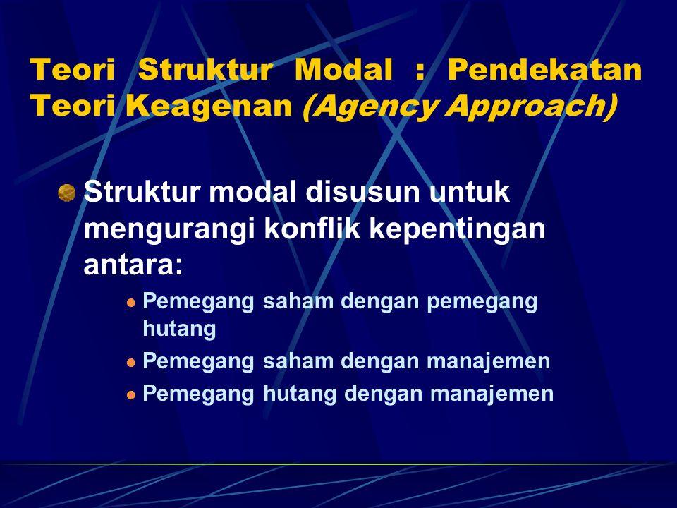 Teori Struktur Modal : Pendekatan Teori Keagenan (Agency Approach)