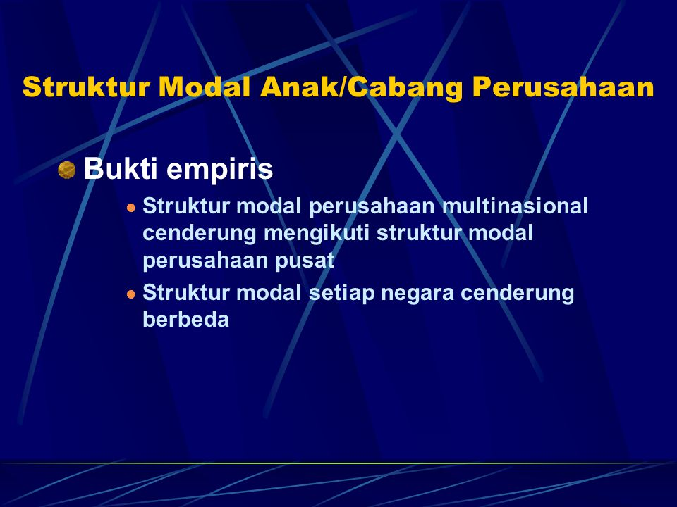 Struktur Modal Anak/Cabang Perusahaan
