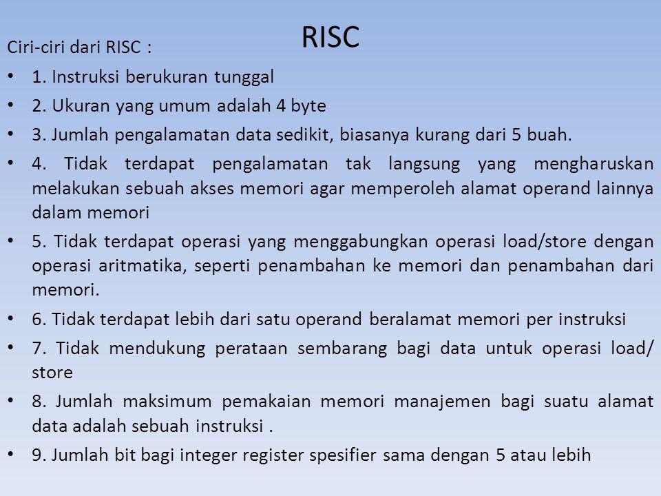 RISC Ciri-ciri dari RISC : 1. Instruksi berukuran tunggal