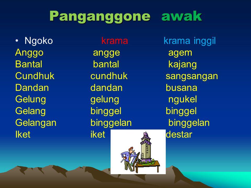 Panganggone awak Ngoko krama krama inggil Anggo angge agem