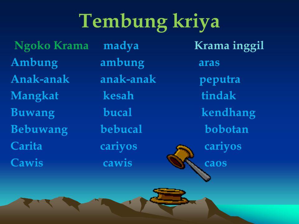 Tembung kriya Ngoko Krama madya Krama inggil Ambung ambung aras
