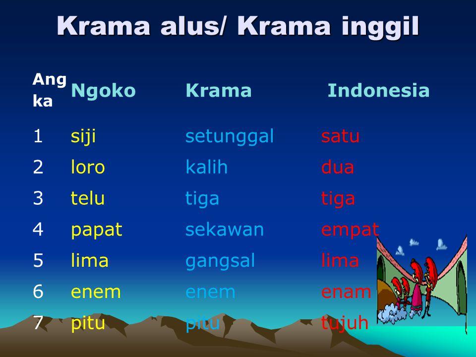 Krama alus/ Krama inggil