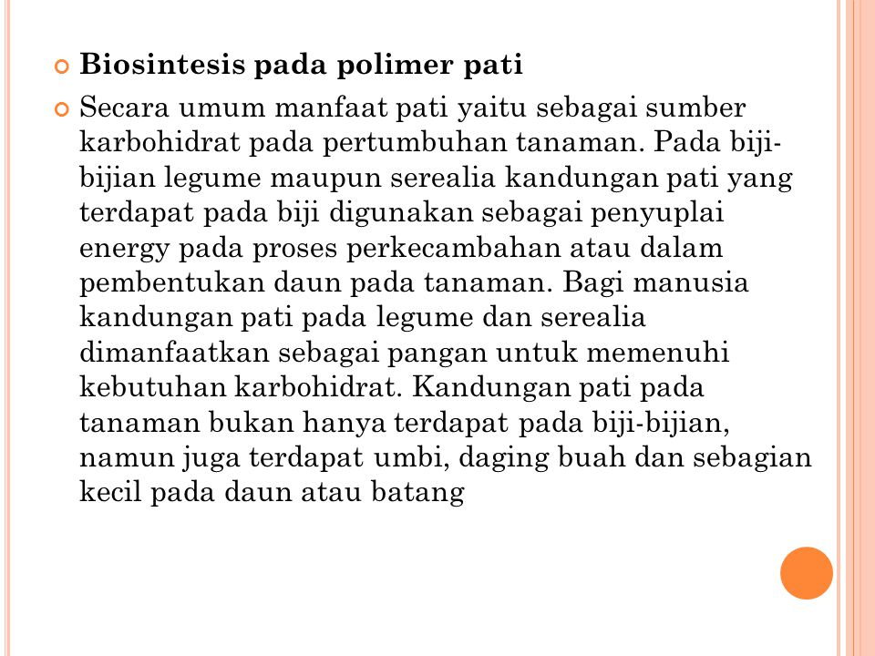 Biosintesis pada polimer pati