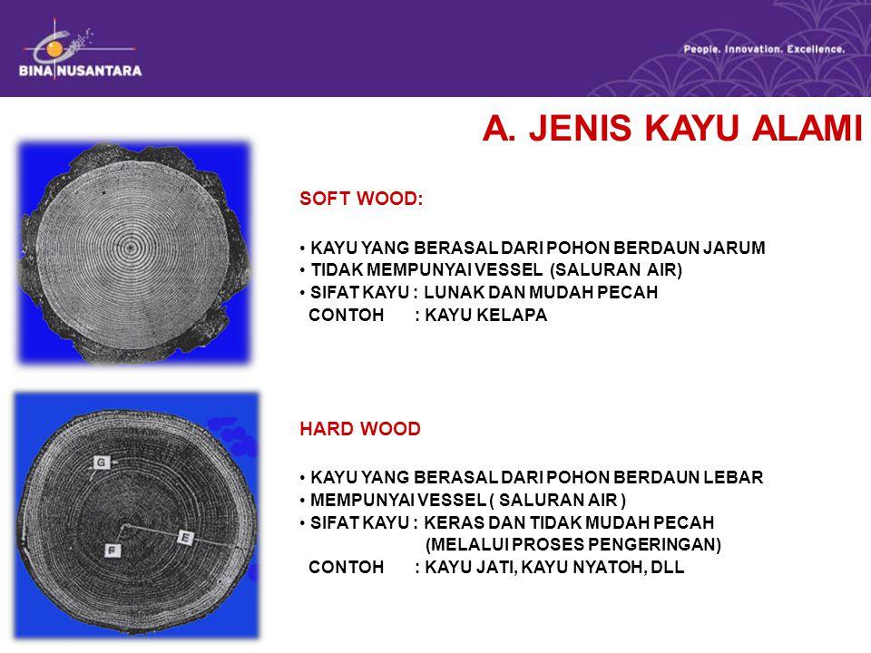 A. JENIS KAYU ALAMI SOFT WOOD: HARD WOOD