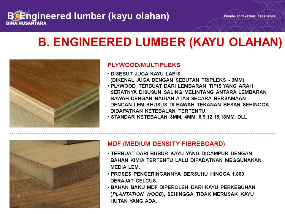 B. Engineered lumber (kayu olahan)