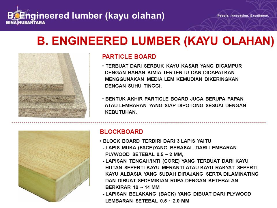B. Engineered lumber (kayu olahan)
