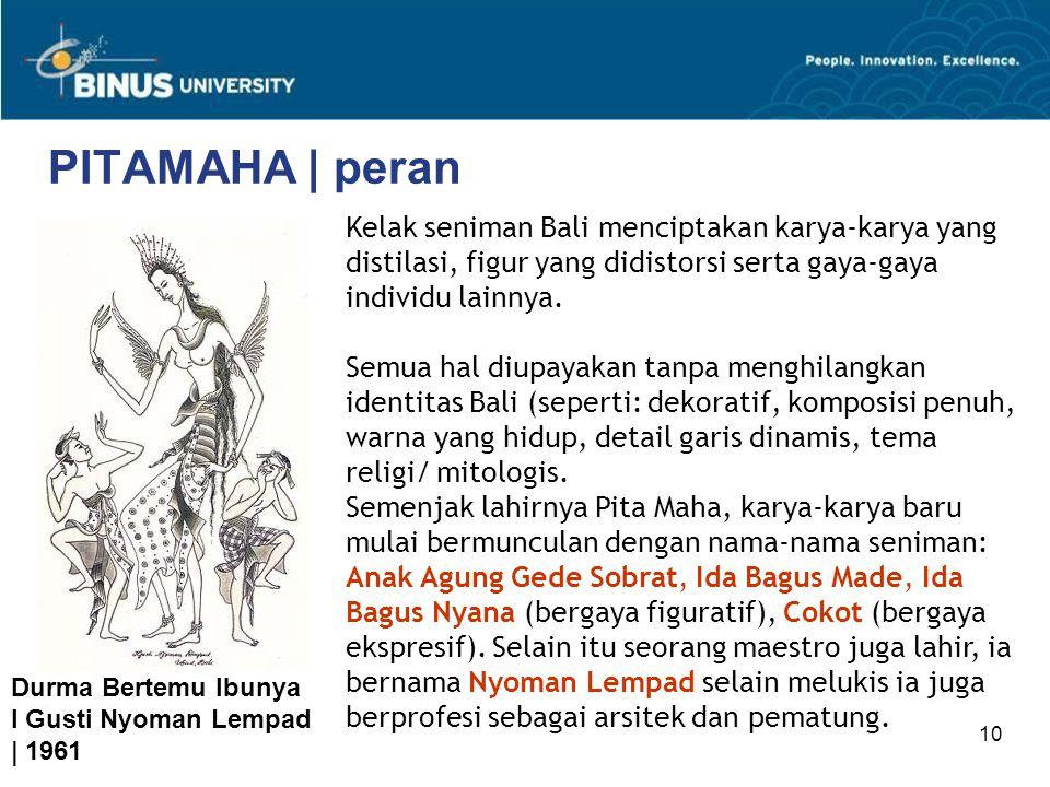 PITAMAHA | peran Kelak seniman Bali menciptakan karya-karya yang distilasi, figur yang didistorsi serta gaya-gaya individu lainnya.