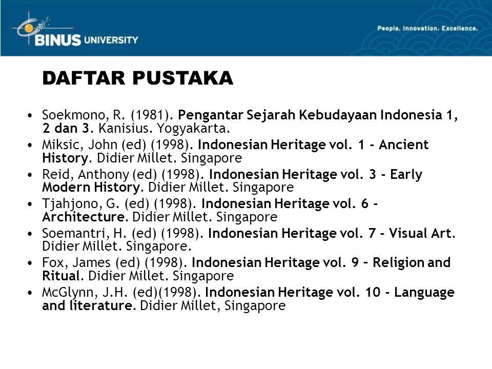 DAFTAR PUSTAKA Soekmono, R. (1981). Pengantar Sejarah Kebudayaan Indonesia 1, 2 dan 3. Kanisius. Yogyakarta.