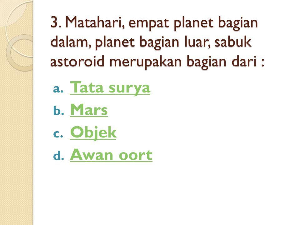 Tata surya Mars Objek Awan oort