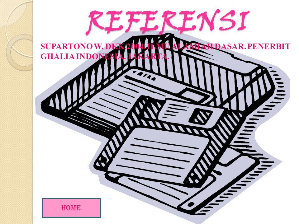 REFERENSI SUPARTONO W, DKK,2004. ILMU ALAMIAH DASAR. PENERBIT GHALIA INDONESIA. JAKARTA. HOME
