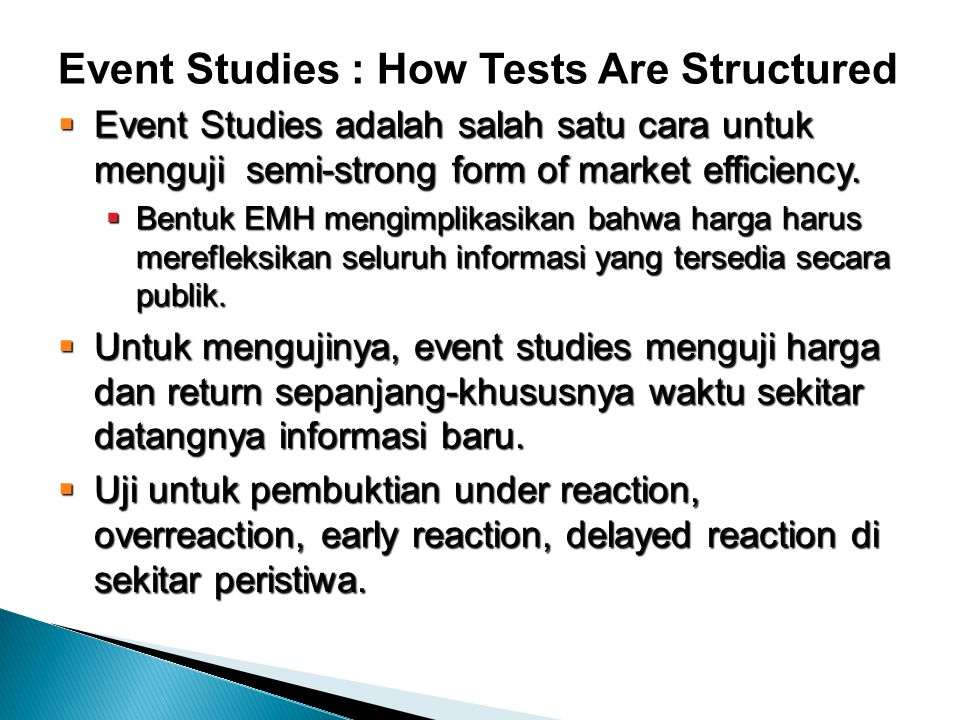 Event Studies : How Tests Are Structured
