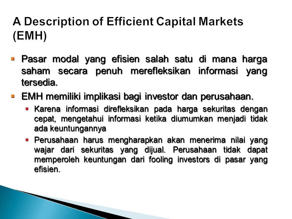 A Description of Efficient Capital Markets (EMH)