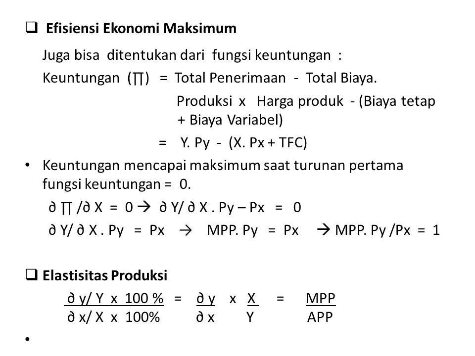 Efisiensi Ekonomi Maksimum
