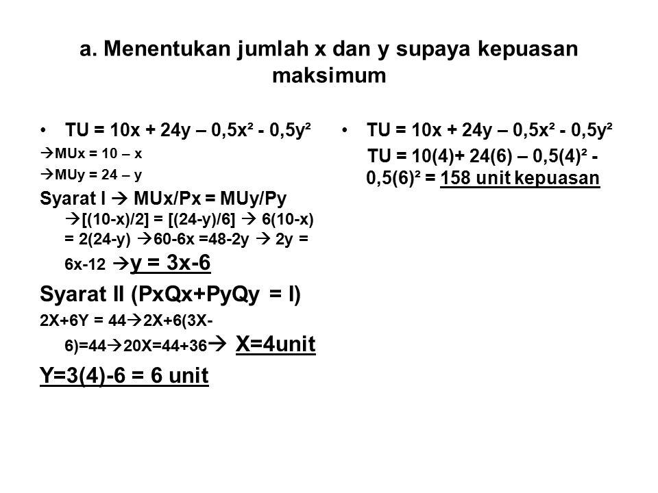 a. Menentukan jumlah x dan y supaya kepuasan maksimum