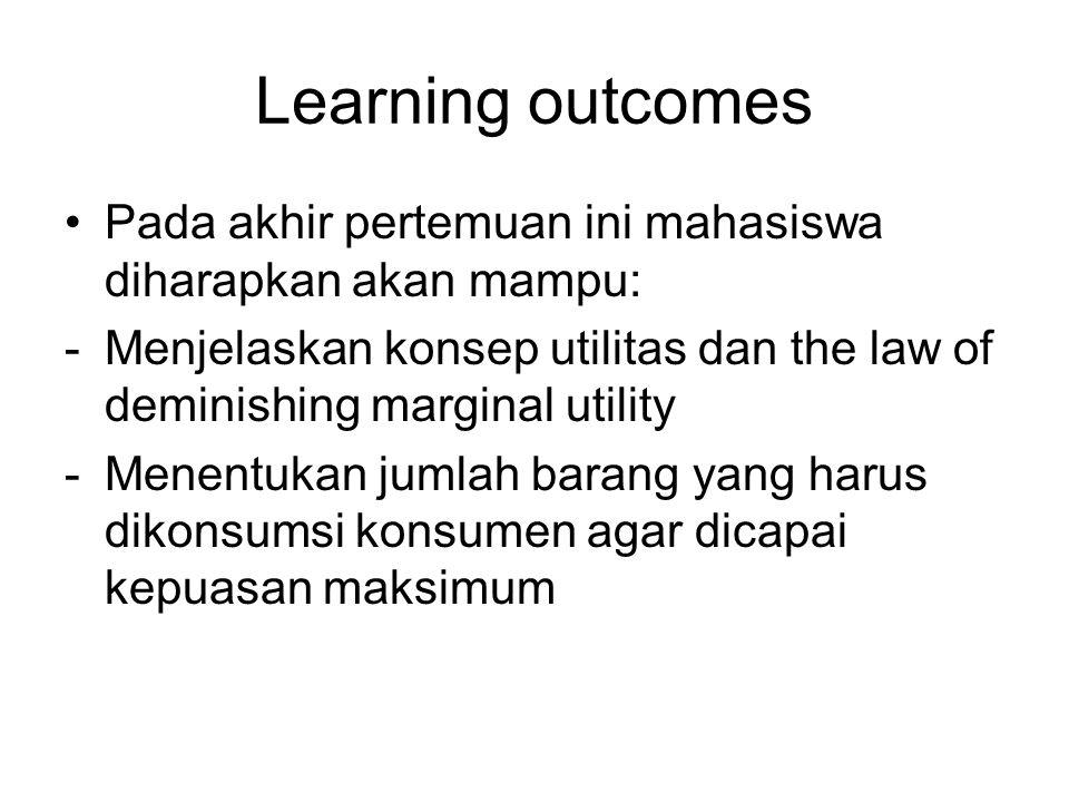 Learning outcomes Pada akhir pertemuan ini mahasiswa diharapkan akan mampu: Menjelaskan konsep utilitas dan the law of deminishing marginal utility.