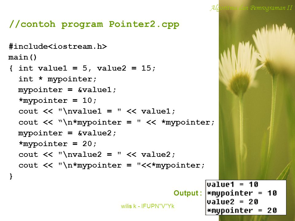 //contoh program Pointer2.cpp