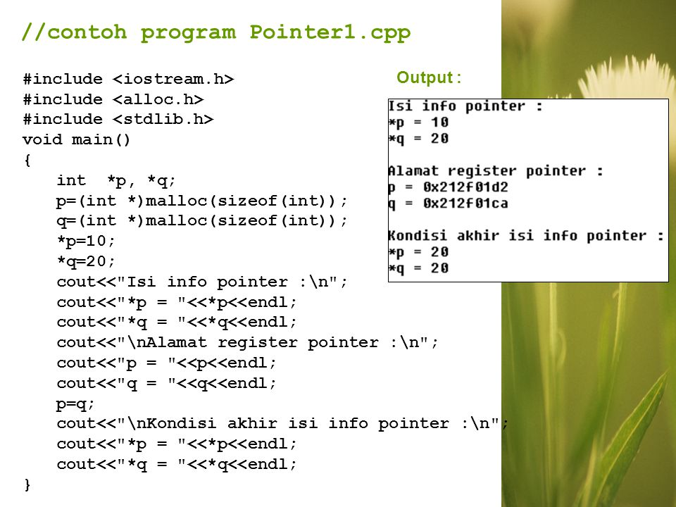//contoh program Pointer1.cpp