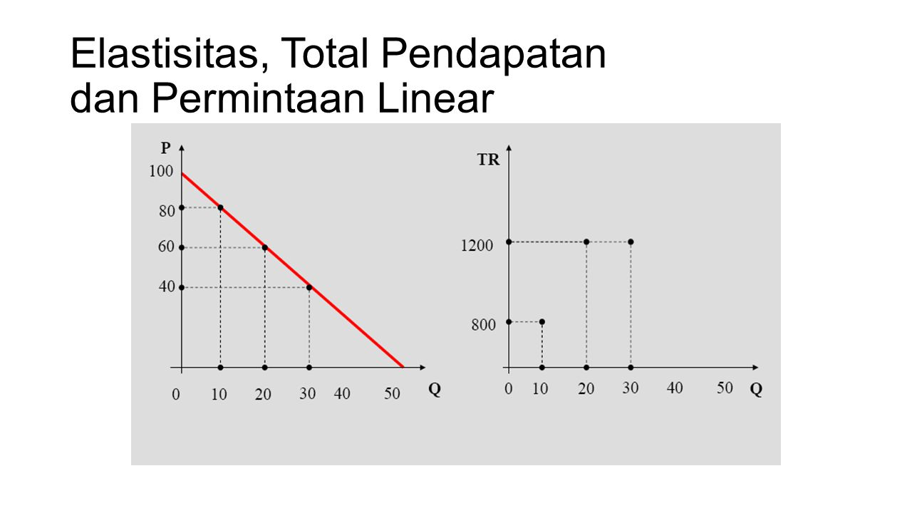 Elastisitas, Total Pendapatan dan Permintaan Linear
