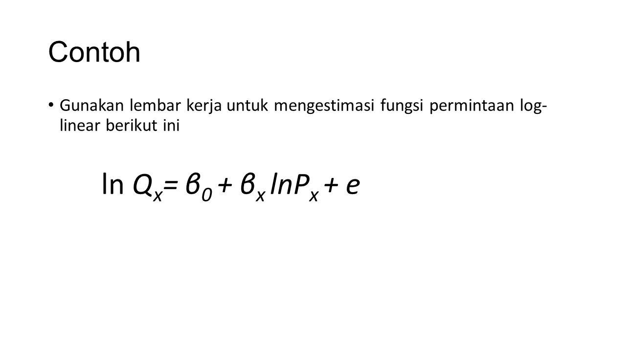 Contoh ln Qx= β0 + βx lnPx + e