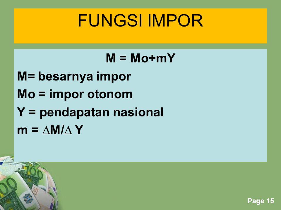 FUNGSI IMPOR M = Mo+mY M= besarnya impor Mo = impor otonom Y = pendapatan nasional m = ∆M/∆ Y