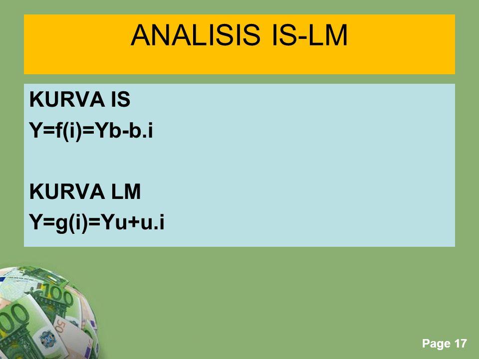 ANALISIS IS-LM KURVA IS Y=f(i)=Yb-b.i KURVA LM Y=g(i)=Yu+u.i