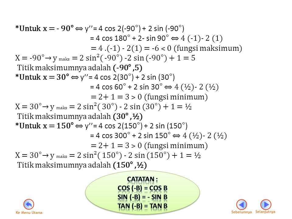 *Untuk x = - 90° ⇔ y''= 4 cos 2(-90°) + 2 sin (-90°)