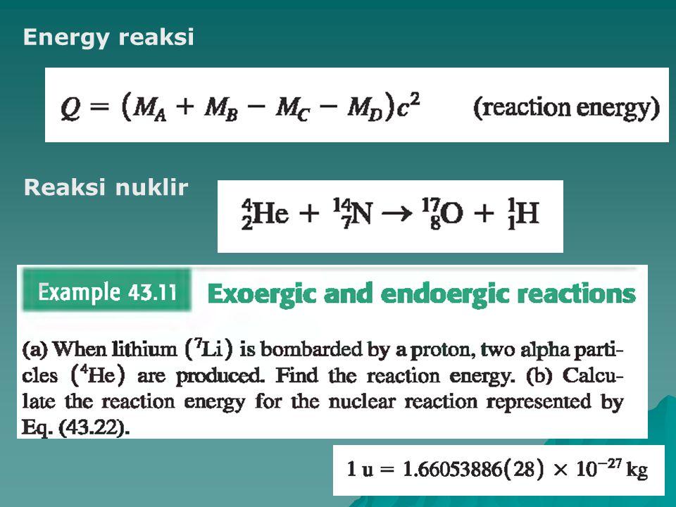 Energy reaksi Reaksi nuklir