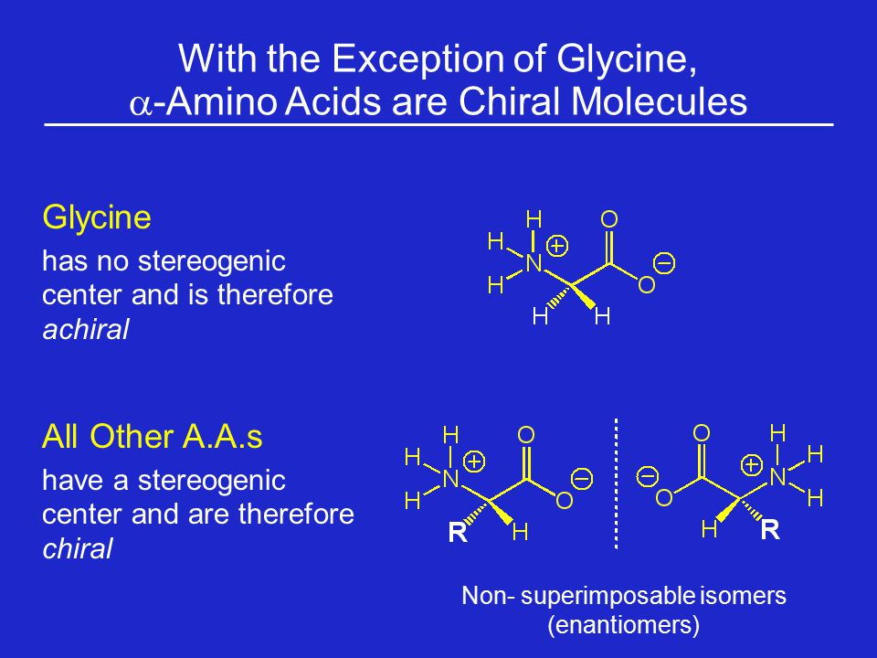 With the Exception of Glycine, a-Amino Acids are Chiral Molecules