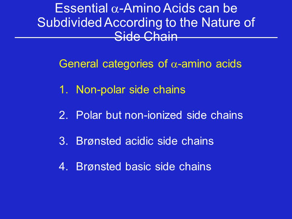 Essential a-Amino Acids can be Subdivided According to the Nature of Side Chain