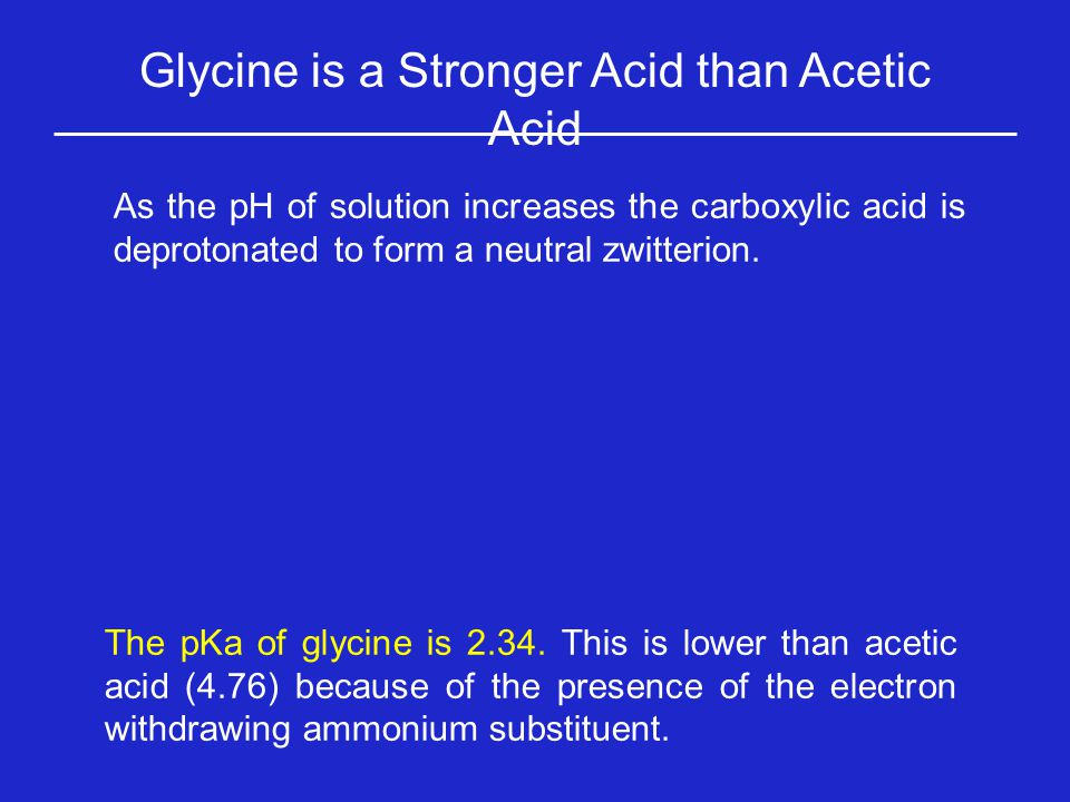 Glycine is a Stronger Acid than Acetic Acid