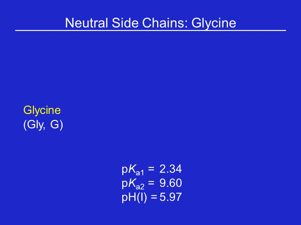 Neutral Side Chains: Glycine