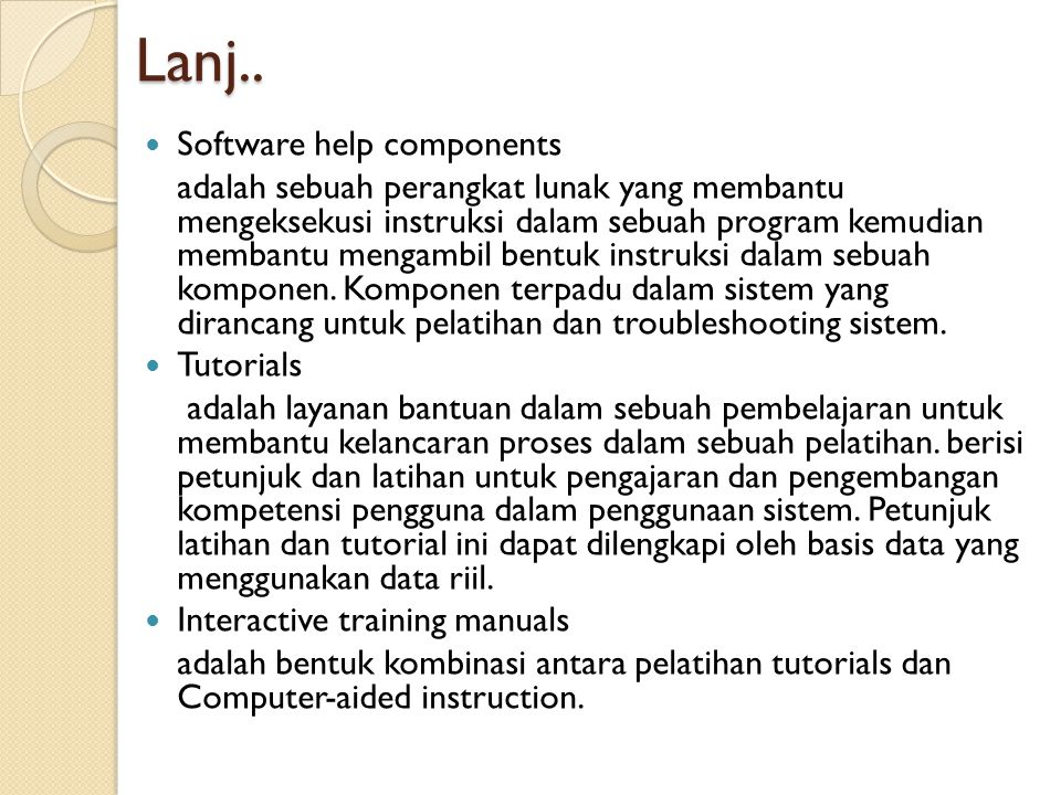Lanj.. Software help components