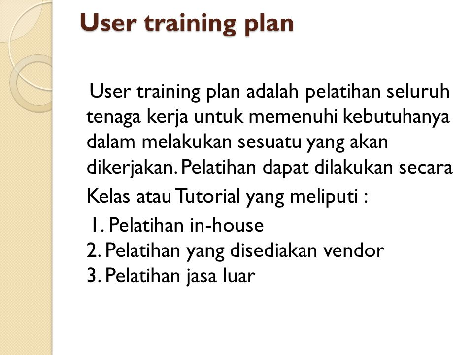 User training plan