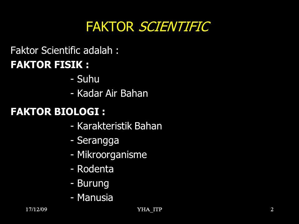 FAKTOR SCIENTIFIC Faktor Scientific adalah : FAKTOR FISIK : - Suhu