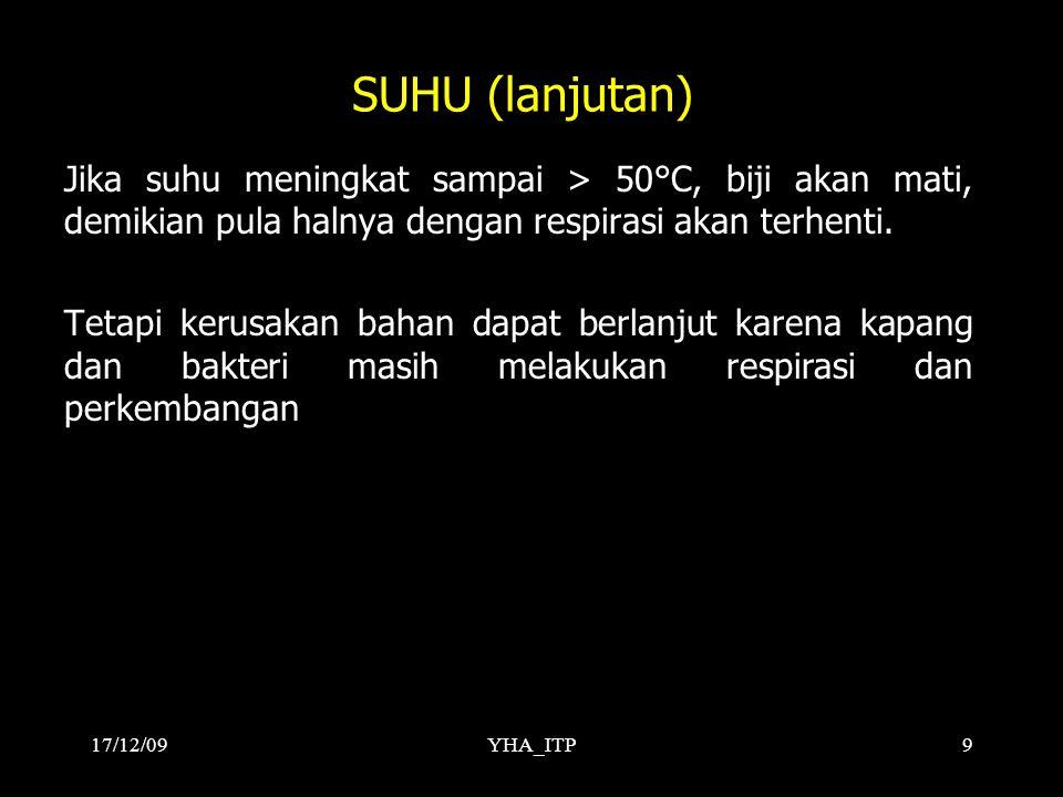 17/12/09 SUHU (lanjutan) Jika suhu meningkat sampai > 50°C, biji akan mati, demikian pula halnya dengan respirasi akan terhenti.