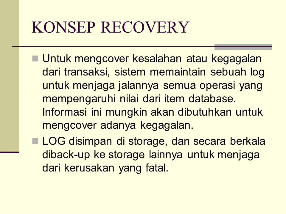 KONSEP RECOVERY