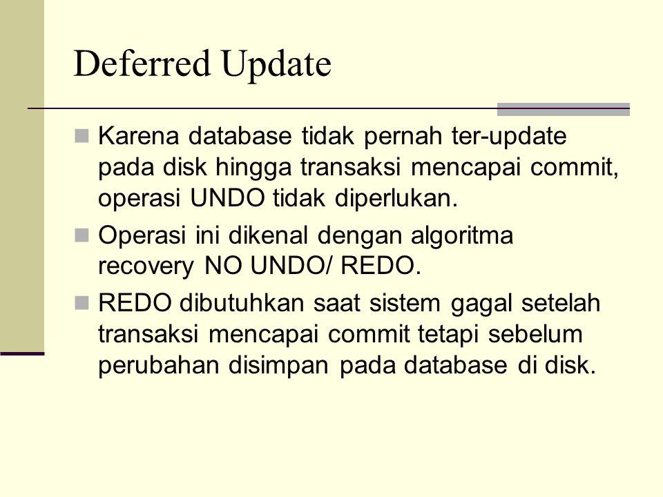 Deferred Update Karena database tidak pernah ter-update pada disk hingga transaksi mencapai commit, operasi UNDO tidak diperlukan.